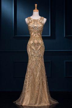 Beading Sequined Scoop Neck Sweetheart Sleeveless Mermaid Prom Dress DZSW600040