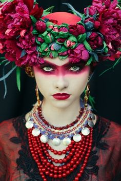 From the bright beads to the bold makeup to the bouquets balanced as exuberant crowns, these photographs byUla Kóska are rich with color, pattern, and tex
