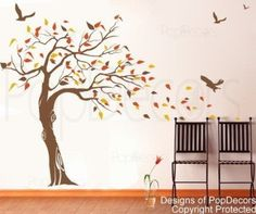 Amazon.com - Custom Color PopDecors - Beautiful Tree and Birds(71 inch H )- removable vinyl art wall decals stickers decal sticker mural
