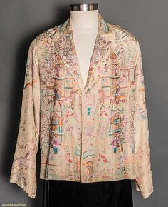 EMBROIDERED EXPORT JACKET, CHINA, 1930s White silk embroidered in pastel colors w/ buildings, horse drawn carts & figure motifs