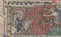 Soldaten mit Armbrüsten, BNF Français 24364 Roman de Toute Chevalerie, fol. 65v, 1308-1312, London.