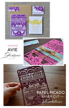 Be sure to check out these amazing papel picado invitations from Avie Designs! And get FREE envelopes and RSVP cards with your order! http://www.stylemepretty.com/destination-weddings/2013/04/11/avie-designs-a-giveaway/