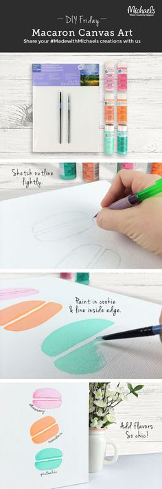 Create an easy Paris inspired watercolor of tasty macarons with this DIYFriday Canvas Art