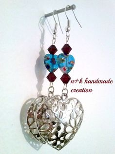 Handmade earrings with silver hearts. by thenkcreations on Etsy