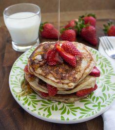 Treat your family to Strawberry Greek Yogurt Pancakes with a big glass of milk!