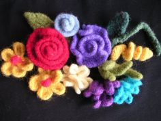 Crocheted felted flowers.