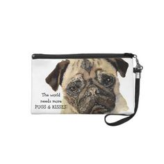 """The World Needs More Pugs & Kisses"" Cute Pug Dog Wristlet $55.50 by countrymousestudio"
