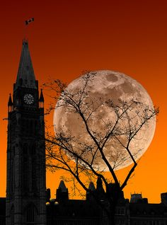 Moon Over Parliament, Ottawa, Canada | StoneHorse Studios