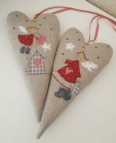 Big heart with the big angel - a magical decoration for the wall… - angel # large - Fabric Christmas Decorations, Diy Christmas Ornaments, Felt Ornaments, Christmas Stockings, Christmas Hearts, Christmas Makes, Christmas Fun, Heart Crafts, Christmas Sewing