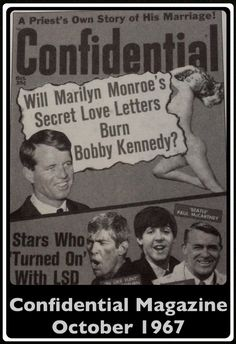 Confidential Magazine. Article discussing the relationship between Marilyn Monroe and Attorney General Robert Kennedy