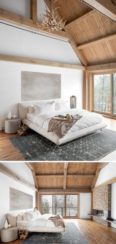 Bedroom Design Ideas - The exposed wood beams in this neutral barn-inspired bedroom give the room a warm cozy feeling that's amplified by the stone fireplace against the back wall.