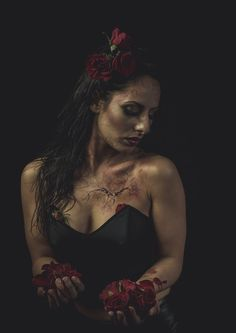 Sara De Blasi - Make Up Artist  the brokenheart story project, special fx make up by me with blood, scars and red roses