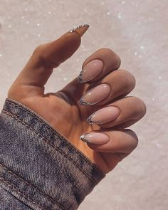 Almond Nails French, Almond Acrylic Nails, French Tip Nails, Best Acrylic Nails, Glitter French Nails, French Tips, Classy Almond Nails, Long Almond Nails, Glitter Tip Nails