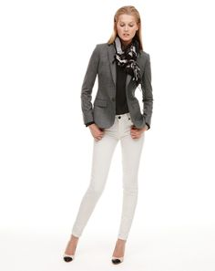 September Style Guide best look - nice way to transition white skinnies into fall.