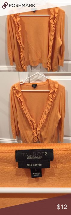 Talbots ¾ length sleeve cotton sweater Orange with ruffle detail Talbots Sweaters Cardigans