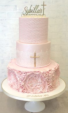 Pretty Parties - Custom Cakes CH-21 Christening / Communion / Confirmation Cake www.prettyparties.net.au