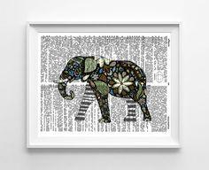 Elephant Dictionary Art Print Mixed Media by GeorgiePearlDesigns, $10.00