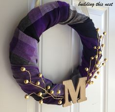 Dollar store scarf wreath