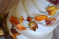 autum leaves wedding - Sugar Realm, Fine Bakery & Cake Design!