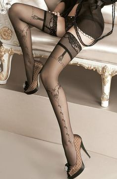 Sexy Black Lace Floral Elysium Stockings    Gothic/Tights/Hold Ups/Garter/Lingerie/Hosiery/Goth Girls/Tattoo