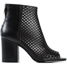 Ash Fancy Perforated Boots (7.210 RUB) ❤ liked on Polyvore featuring shoes, boots, heels, black, leather boots, ash shoes, black shoes, black heeled boots and genuine leather boots