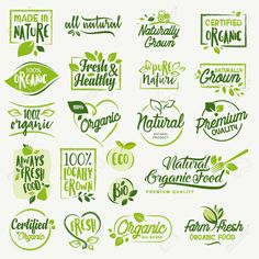 Organic food, farm fresh and natural product labels and badges collection for food market, ecommerce, organic products promotion, healthy life and premium quality food and drink. - Healthy Life Style Tips Organic Food Market, Globe Icon, Food Stickers, Farm Logo, Drinks Logo, Food Illustrations, Organic Recipes, Logo Inspiration, Biodegradable Products