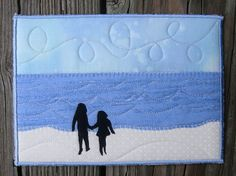 I love all of her fabric postcards! Quilted Fabric Custom Order Silhouette Personalized by SewUpscale, $25.00