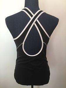 Lands End Women's Size 12 Black Bathing Suit One Piece White Cross Back | eBay