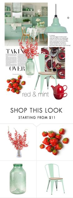 """""""red & mint kitchen"""" by theworldisatourfeet ❤ liked on Polyvore featuring New Growth Designs, Price & Kensington, kitchen, redandmint and polyvoreeditorial"""