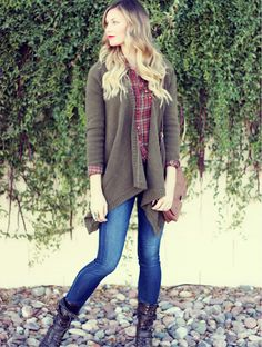 plaid shirt, long sweater. skinny blues. brown boots!