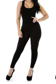 Black Plain Color Sleeveless Bodycon Jumpsuit