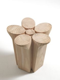 Solid wood stool FIORE by Riva 1920