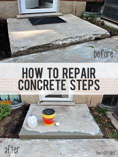 fix chipped concrete steps, concrete masonry, diy, home improvement, home maintenance repairs Repairing Concrete Steps, Cement Steps, Stain Concrete, Concrete Resurfacing, Concrete Furniture, Concrete Countertops, Home Improvement Projects, Home Projects, Home Renovation