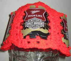 beer can hat Miller High Life Harley-Davidson Motorcycles labels crocheted by lakecabincrafts for $11.00
