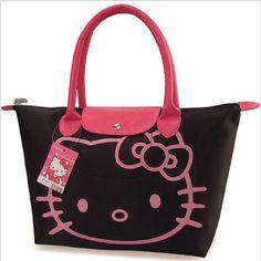 Promotions! Hello Kitty Bag Designer Waterproof Shoulder Bag Black Shopping Girls Women Handbags bolsa nylon feminina