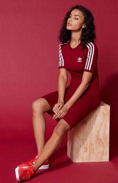 adidas Adicolor Red 3-Stripes Dress