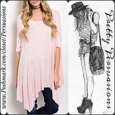 """NWT Pink Draping Sides Swing Tunic Top ** Please do not purchase this listing. I will make you a personal listing if you'd like to purchase **  Available in sizes: S, M, L  Measurements from a size small: Length: 38"""" Bust: 48"""" Waist: 50""""  Features super soft material (95% rayon, 5% spandex), a stunning draping sides bottom hemline with an open neckline & relaxed easy fit. Can easily double as a dress & pairs great with a lace dress extender (also available in separate listings)  Bundle…"""