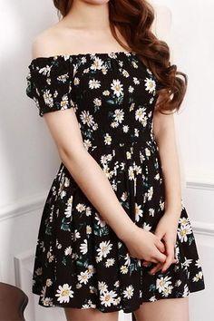 Cute Daisy Off-Shoulder Dress
