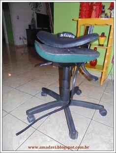 Davi, o Amado: Crafitces: cadeira de escritório forrada com tecid...