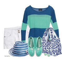 """""""Stripes n' Floral - Blue n' Green"""" by stylesbyjoey on Polyvore"""