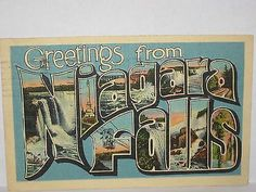 """1943 LARGE LETTER POSTCARD """" GREETINGS FROM` NIAGARA FALLS  """" ( W/ SITES )"""