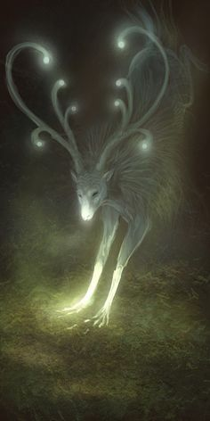 lights on deers antlers and nose, ✯ Seed :: Artist Anastasia Korochansckaja ✯ personally going to get this printed to put on my daughters bedroom wall. Art And Illustration, Illustrations, Magical Creatures, Fantasy Creatures, Mystical Creatures Drawings, Mythical Creatures Art, Art Magique, Mythological Creatures, Fantasy Inspiration