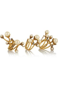 Erickson Beamon | Stratosphere gold-plated, faux pearl and Swarovski crystal ring | NET-A-PORTER.COM