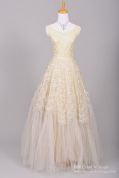 1950 Metallic Lace Vintage Wedding Gown : Mill Crest Vintage