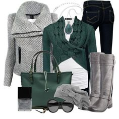 Green & Grey by stylesbyjoey on Polyvore featuring Mode, Daytrip, Isabella Oliver, IRO, Fergalicious, Chloé, Forever 21, Yves Saint Laurent, Butter London and satchel bags