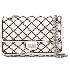 Chanel Vintage Sequined Flap Shoulder Bag (227,340 INR) ❤ liked on Polyvore featuring bags, handbags, shoulder bags, cotton quilted handbags, chanel purse, sequin purse, chain shoulder bag and beige purse