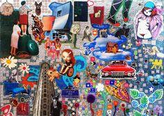 Este collage se llama en la cresta de la ola  Está realizado con diversos materiales, tela, plástico, chapa, es tridimensional y el tratamiento del fondo crea un efecto de agua sumamente surrealista y muy sugerente.  Medidas: 70x50  Precio:180 euros.   http://starkefashion.blogspot.com.es/search/label/Collages
