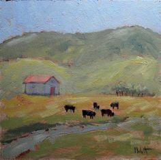"""Colorado Cows Daily Oil Painting Black Angus"" - Original Fine Art for Sale - © Heidi Malott"