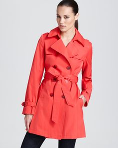 DKNY Double Breasted Trench with Pleats   Bloomingdale's