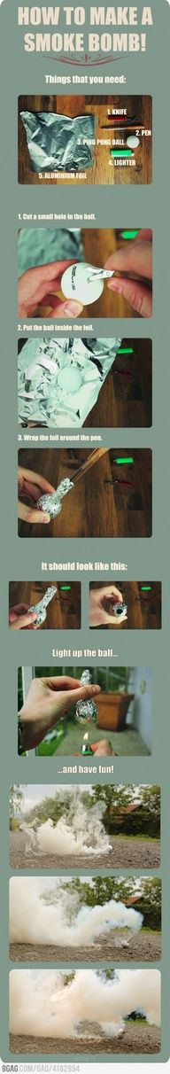 #Prepper #survival - How to make a smoke bomb. Useful for a getaway or signaling over med ranges. I forgot I knew how to do this, totally works! Smoke Bombs, Zombie Apocalypse Survival Weapons, Spy Weapons, Ninja Weapons, Zombie Survival Guide, Survival Prepping, Survival Bags, Survival Stuff, Survival Food